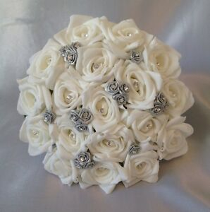 Image Is Loading ARTIFICIAL WEDDING FLOWERS SILVER WHITE FOAM ROSE