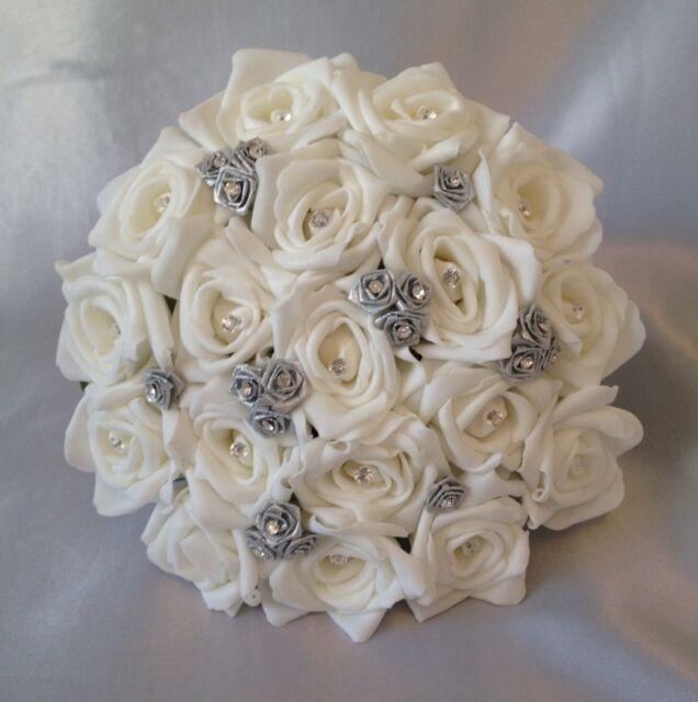 ARTIFICIAL WEDDING FLOWERS SILVER/WHITE FOAM ROSE WEDDING BRIDESMAID  BOUQUET