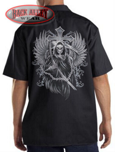 Grim Reaper w// Cross Mechanics Work Shirt Biker M-3XL Wings Sickle /& Chains BAD