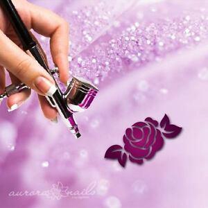 Airbrush-Adhesive-Stencils-f286-Nail-Art-80-PCs-Ornament-Floral-Flower-Rose