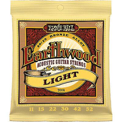 Ernie Ball 2004 Earthwood Bronze Light Acoustic Guitar Strings 11-52 12 Sets