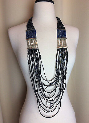 "Fashion Jewelry 34-38"" Long Chicos Black & Blue Sparkly Seed Beeded Draped Necklace Euc Signed Jewelry & Watches"