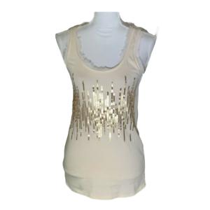 Ann Taylor Loft Womens Top Sleeveless Tank Scoop Neck Sequins Shirt Size Small