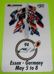 Essen-Germany-1st-International-Phonecard-Fair-Flags-AmeriVox-5-Phone-Card