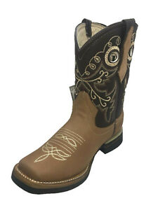 Women-Cowgirl-Rodeo-Boots-Leather-Square-Toe-Western-Honey-Color-Size-5-to-8-5