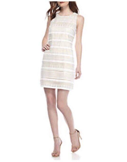 Vince Camuto Fringe And Lace Sleeveless Shift Dress. Size 6.  188.00.