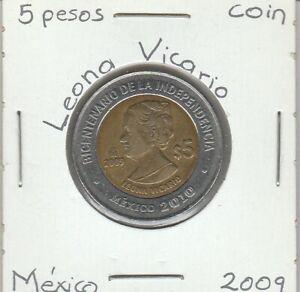 Mexico-5-Pesos-Coin-LEONA-VICARIO-Year-2009