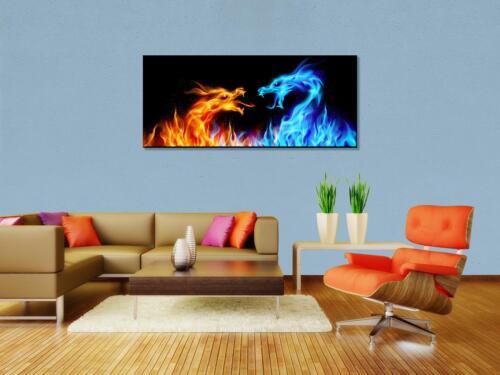 Leinwandbild Feuerdrachen Panoramabild Kunstdrucke M0440