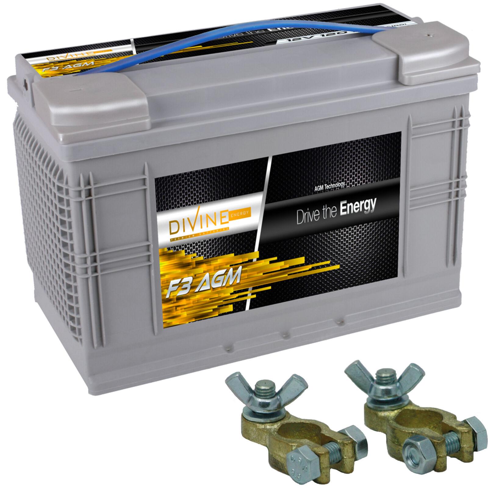 Divine F3 120Ah AGM Stiefel Antrieb Batterie mit Batterieklemmen ersetzt ersetzt Batterieklemmen 95, 110ah 712ea1