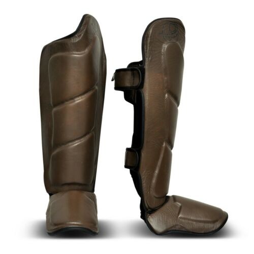 Brown Vintage Genuine Leather Shin Instep Boxing MMA Muay Thai