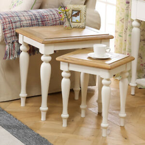 Details About Chatsworth Cream Painted Nest Of 2 Tables Living Room Furniture Ctr11
