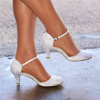 latest new list really cheap Womens Lace Wedding Shoes Ladies Low Kitten Heel Full Toe Strappy Bridal  Courts | eBay