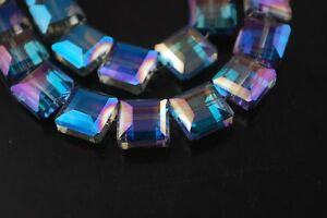 10pcs13mm-Square-Faceted-Glass-Crystal-Charms-Loose-Spacer-Beads-Blue-Colorized