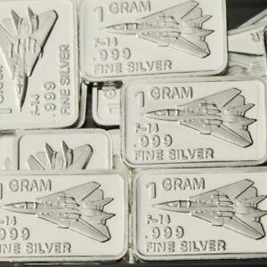 Lot-of-30-X-1-Gram-999-Fine-Silver-Bar-Bullion-F-14-Tomcat-WPT457-oz