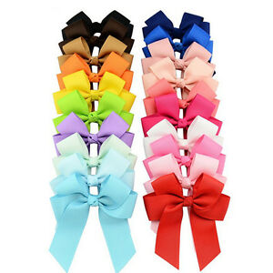 20X-Grosgrain-Ribbons-Cheer-Bow-With-Alligator-Hair-Clip-Baby-Girls-BoutiqueATA