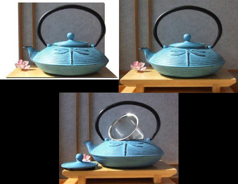 Fonte Bleu Libellule Tetsubin théière bouilloire 0.8 L style japonais
