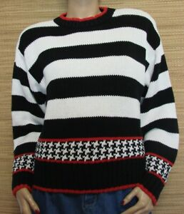 Bechamel-Black-amp-White-Striped-Cotton-Long-Sleeve-Pullover-Sweater-Size-M