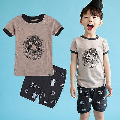 "NWT Vaenait Baby Kids Boys Short Pajama set Outfit Clothes /""Green Cat/"" 2T-5T"