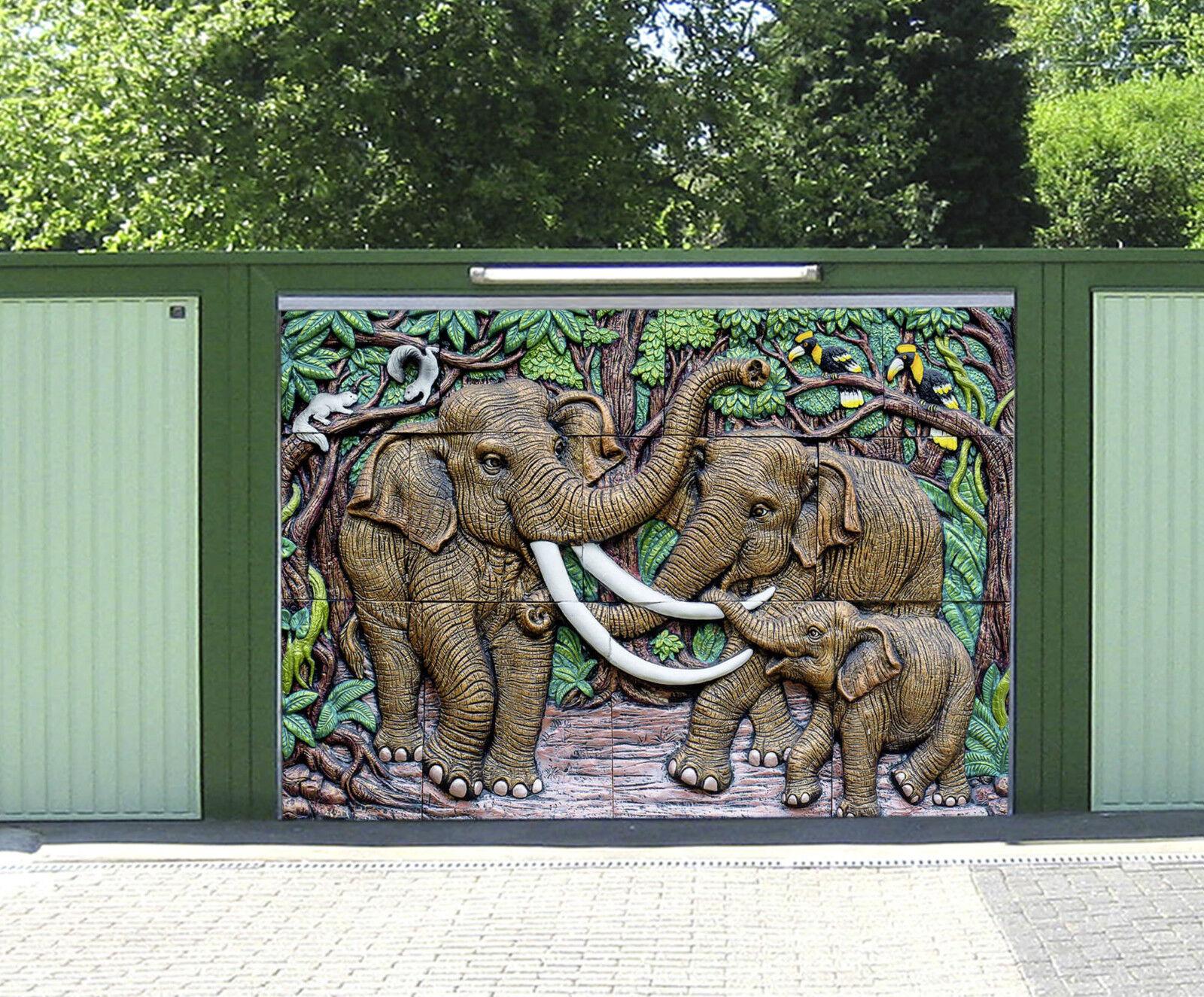 3D Elephant Family Garage Door Murals Wall Print Decal Wall Deco AJ WALLPAPER IE