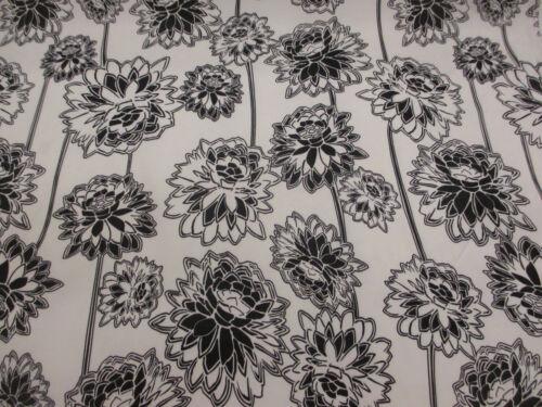 Blanco//Negro Diente de León Floral Vestido Impreso superior mezcla de satén de algodón tejido.