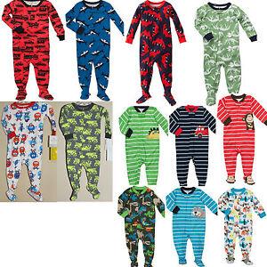 NWT $22 Carter's Boys Footed Pajamas Jersey / Cotton 12 18 24 ...