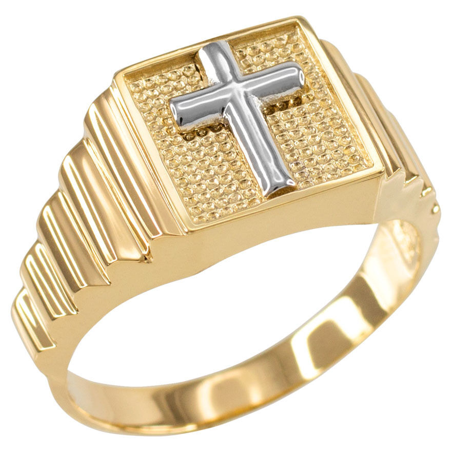 14k Two-Tone gold Cross Square Religious Men's Ring