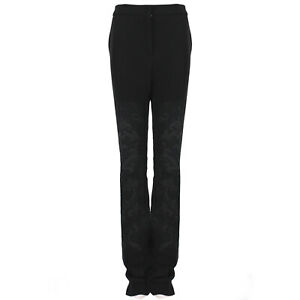 Stella-McCartney-Black-Wide-Leg-Embossed-Pattern-Trousers-Pants-IT40-UK8