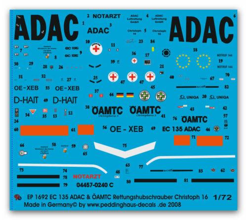 Peddinghaus-Decals 1//72 1692 EC-135 ADAC /& ÖAMTC Rettungshubschrauber