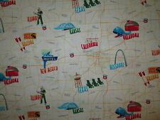 ROUTE 66 MAP SITES MOTELS TAN BEIGE FUNKY COTTON FABRIC FQ