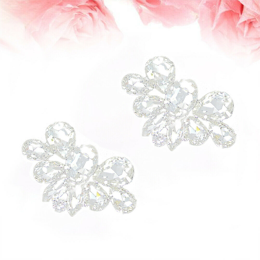 1 Pair of Crystals Shoe Buckles Bridal Diamond Shoe Decoration for Women Party