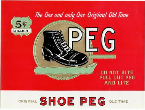 CIGAR BOX LABEL VINTAGE INNER C1930 PEG MANS WORK BOOT ORIGINAL SHOES EMBOSSED