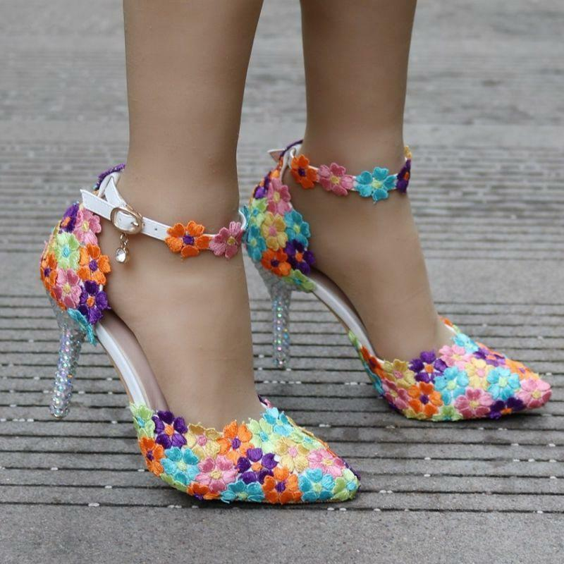 9 CM Ladies colorful Lace Sandals Wedding Pointed Toe High Heel Stilettos shoes