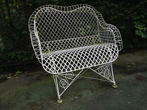 Admirable Details About Antique American Victorian Iron Garden Twisted Wire Bench Loveseat Pabps2019 Chair Design Images Pabps2019Com