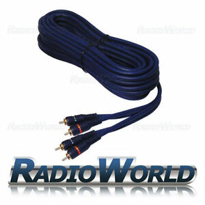 Blue-RCA-Phono-Lead-Cable-5M-Car-AMP-Amplifier-Double-Shielded-With-Remote
