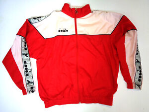 DIADORA-80s-90s-Tracksuit-Vintage-Track-Jacket-Casual-Classic-Red-Size-M-Medium