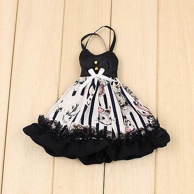 """Takara 12"""" Blythe Doll Outfits Black And White Stripes Sexy Dress"""