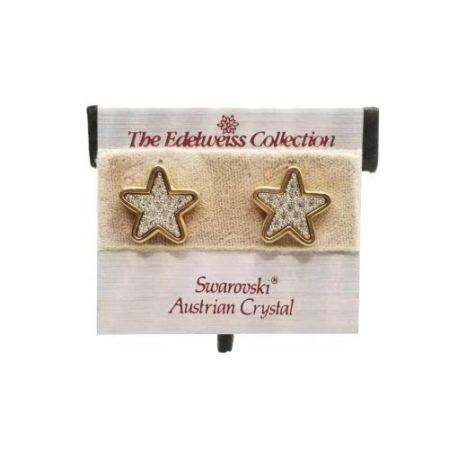 SWAROVSKI EDELWEISS Star Pierced Earrings Jewelry… - image 1