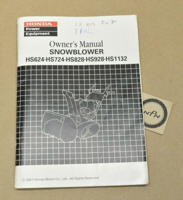 2001 Honda Owners Manual Snowblower Hs624 Hs724 Hs828