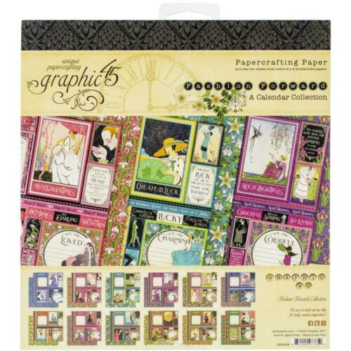 """Graphic45 Fashion Double-Sided Paper Pad 8x8/"""" 24//Pkg Motivblock Mode 20x20 cm"""