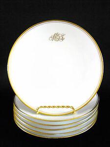 Gotham-Austria-Pirkenhammer-6-Salad-or-Luncheon-Plates-MGS-Monogrammed-Gold-Trim