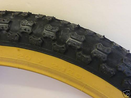"TYRES Pair 20x1.75/"" COMP 3 Tread Style Retro Old School Comp III Amber Wall BMX"