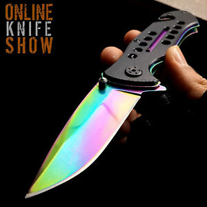 8-034-TAC-FORCE-RAINBOW-SPRING-ASSISTED-TACTICAL-FOLDING-KNIFE-Blade-Open-Pocket