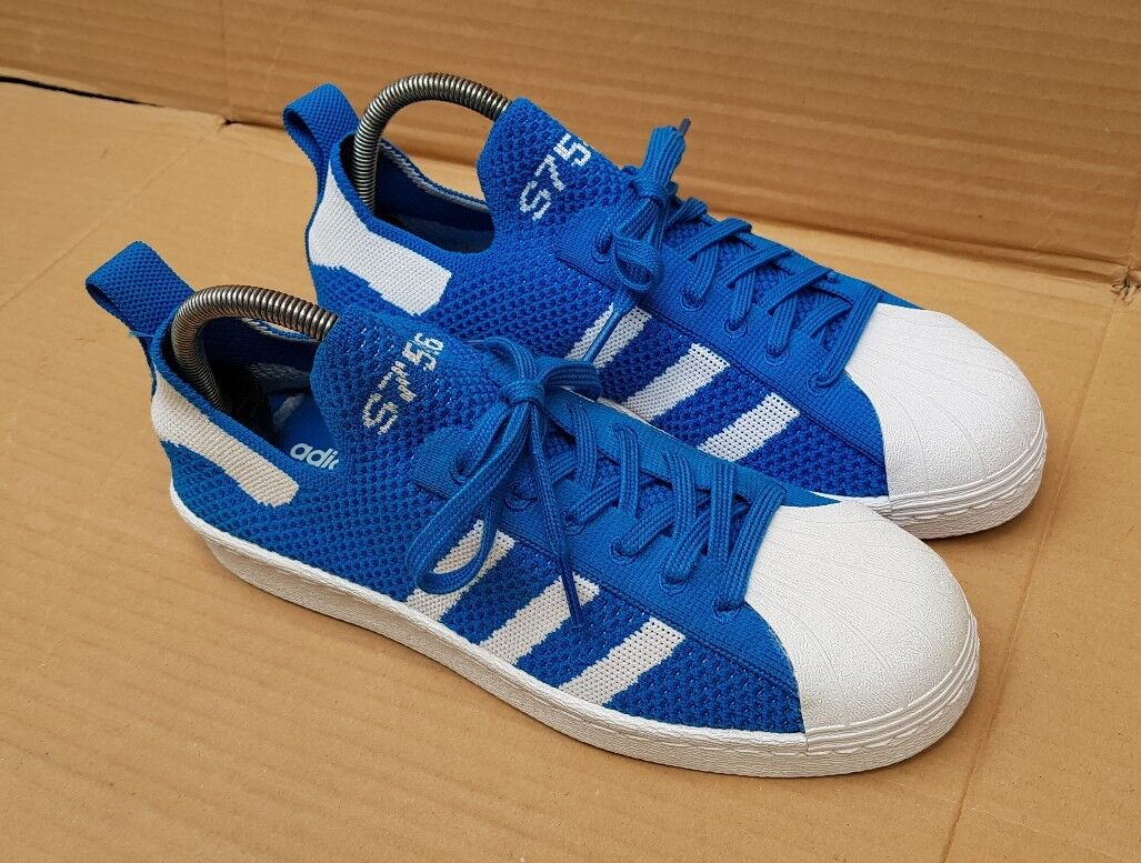 ADIDAS SUPERSTAR 80's TRAINERS PRIME KNIT Blau & WEISS IN SIZE 6 UK EXCELLENT