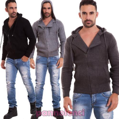 Cardigan pour homme pull élastique à capuche pull velours de coton neuf 5015-MOD