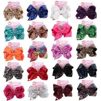 JOJO SIWA Bows Large Rainbow Unicorn Bow-knot Print Grosgrain Ribbon Hair 8 inch