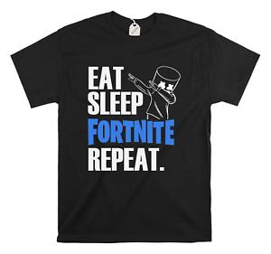 Eat Sleep Repeat Fort Night T-Shirt Kids Boys Children's Gaming Top Marshmello