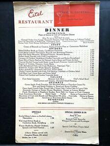 1941 EITEL RESTAURANT vintage dinner menu CHICAGO, ILLINOIS, Old Heidelberg Room