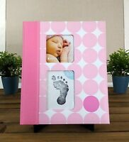 Pearhead Pink Modern Dots Baby Girl Memory Keepsake Book + Clean Touch Ink Pad