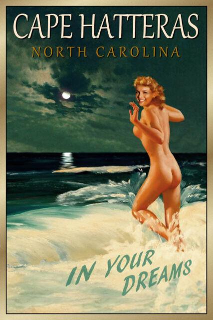 CAPE HATTERAS North Carolina Original Travel Poster Marilyn PinUp Art Print 172a
