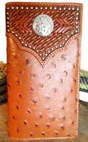 Nocona Western Mens Wallet Rodeo Overlay Ostrich Concho Whiskey N5450808